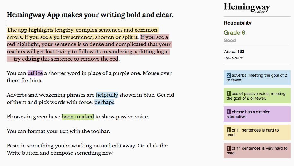 ตัวอย่างการใช้ Hemingway App