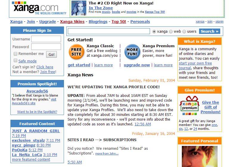 Xanga อีกหนึ่งบริการ บล็อก งานแรกของ บ๊ซ