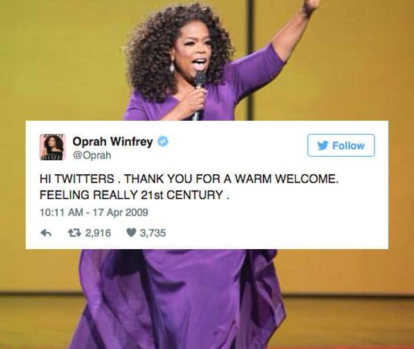 Tweet ของ โอปราห์ วินฟรีย์ คือจุดเปลี่ยนสำคัญของ twitter