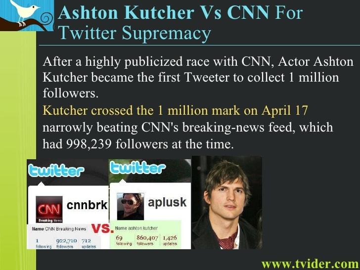 แอชตัน คุชเชอร์ กับ CNN แข่งกันว่าใครจะมี follower ถึง 1 ล้านคนก่อน