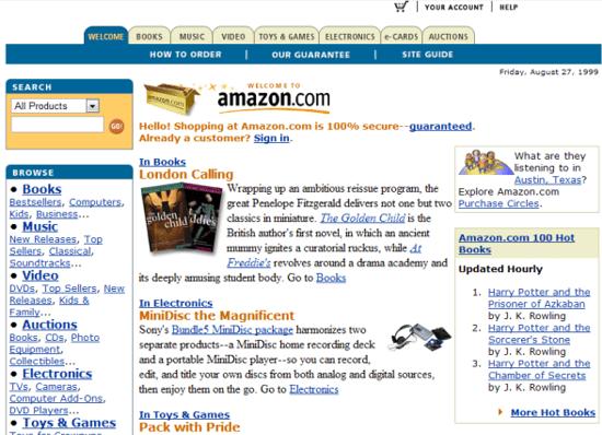 amazon เริ่มขยายหมวดหมู่สินค้า ใน ปี 1999