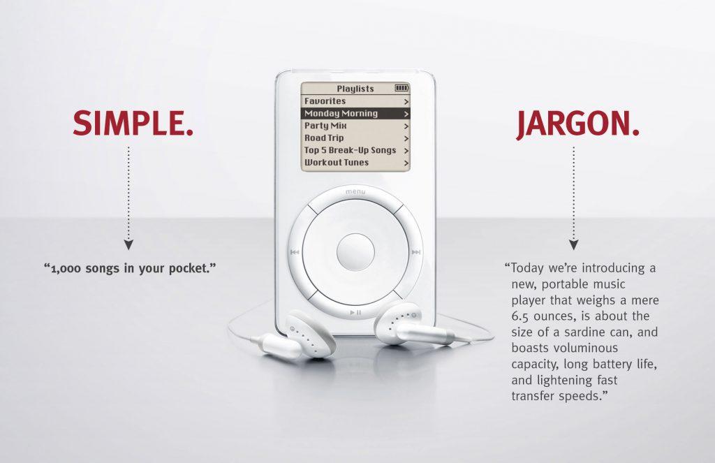 iPod ต้องเรียบง่ายที่สุด และ เข้ากับ concept 1,000 เพลงในกระเป๋าคุณ