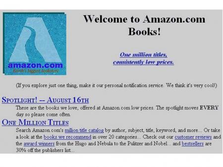 เว๊บ amazon ช่วงแรกเน้นตัวอักษร เพราะตอนนั้น internet ยังสปีดต่ำมาก แต่เน้นเรื่องโครงสร้างข้อมูลที่เข้าใจนักอ่านตัวยง
