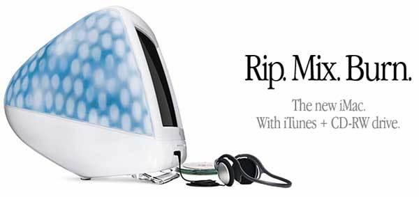 iMac พร้อมไดร์ฟที่ใช้ rip burn เพลงลง CD
