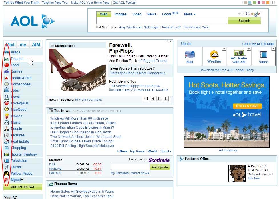 AOL ที่เป็นเว๊บไซต์ยักษ์ใหญ่ในขณะนั้น