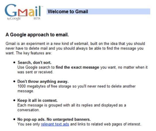 Gmail ที่มาพร้อมพื้นที่เก็บข้อมูล 1 กิกาไบต์