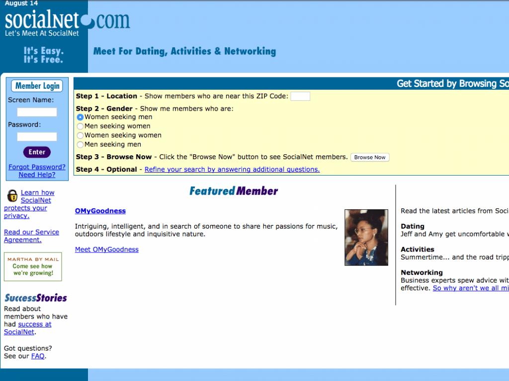 Socialnet.com บริการแรกที่ Reid นั้นได้สร้างขึ้นมา