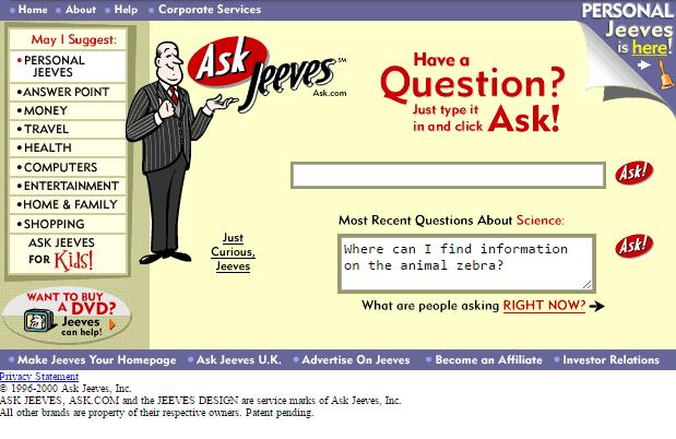 Deal กับ Askjeeves ทำให้ google ยิ่งทะยานเติบโตอย่างรวดเร็ว