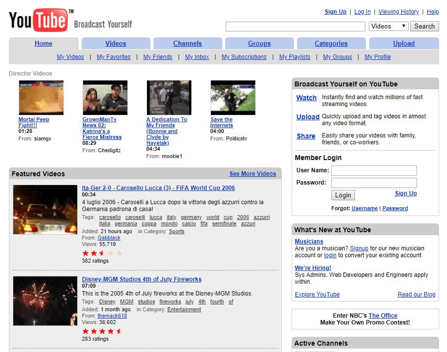 youtube ที่กลายเป็นกระแสอย่างมากในช่วงนั้น ก่อนจะถูกซื้อโดย google