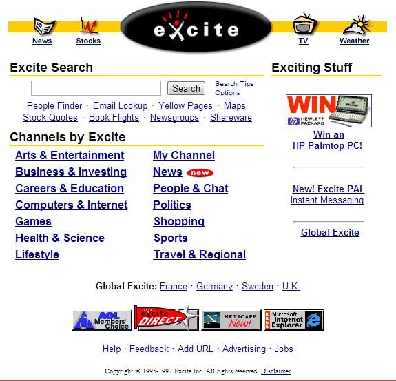 Excite ที่เป็นเว๊บไซต์ยักษ์ใหญ่ของโลกในขณะนั้น
