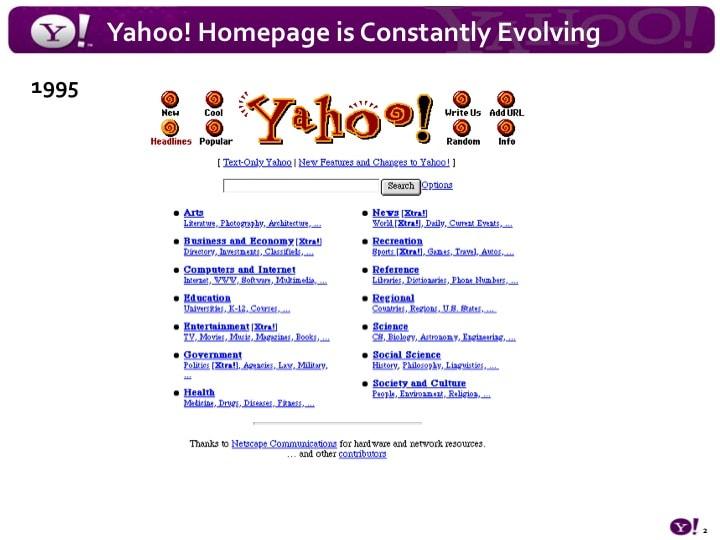 Yahoo เว๊บไดเรคทอรี่ ที่เป็นที่นิยมในขณะนั้น