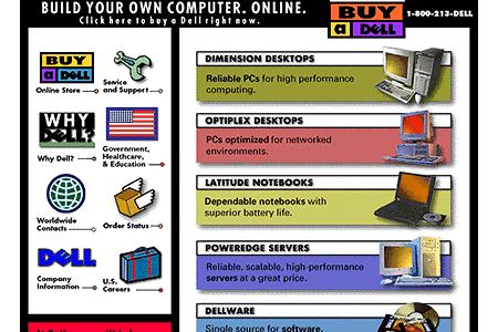 เว๊บไซต์ของ Dell ในยุคแรก ๆ