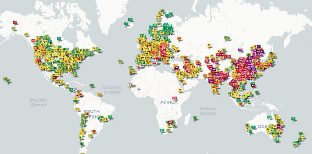 ถ้าดูจากสีจะพบว่าประเทศที่ไม่มีปัญหานี้จริง ๆ คือ อเมริกา ยุโรป ญี่ปุ่น ออสเตรีย มากกว่าจะเป็นจีน