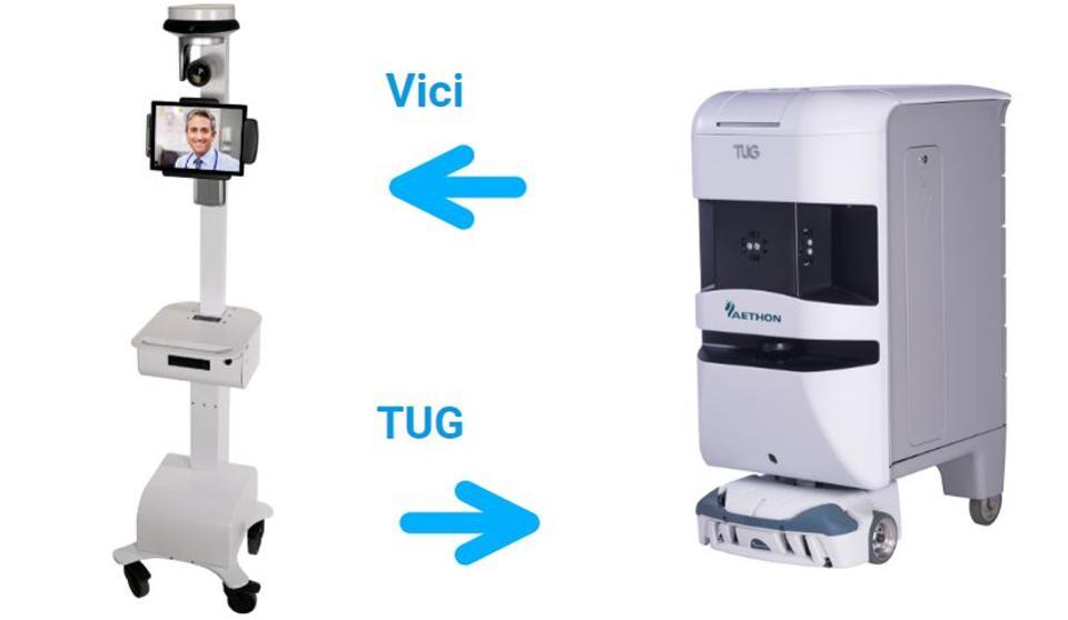 อุปกรณ์ telehealth Vici และหุ่นยนต์ TUG ถูกนำมาใช้ในโรงพยาบาลทั่วสหรัฐอเมริกา