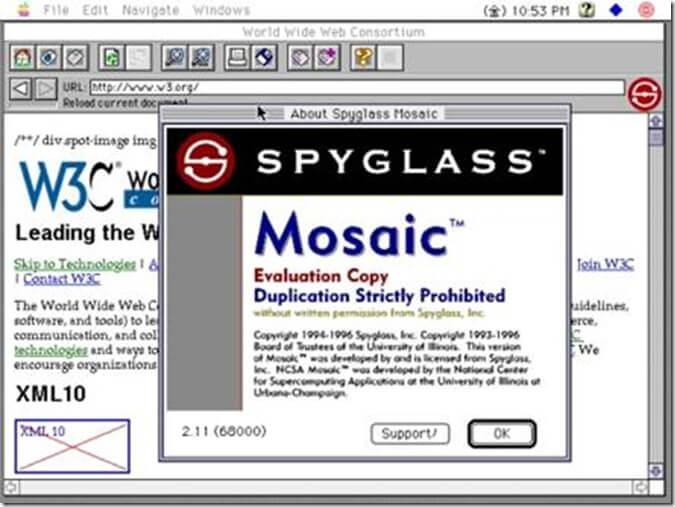 Spyglass ที่ได้รับลิขสิทธิ์ Mosaic ถือเป็นคู่แข่งโดยตรง