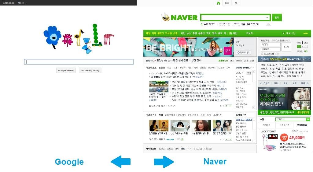 หน้าจอที่แตกต่างระหว่าง Google และ Naver