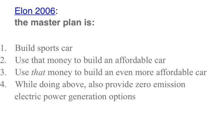 การกำหนดเป้าหมายที่ชัดเจนของ Elon Musk ตั้งแต่ปี 2006
