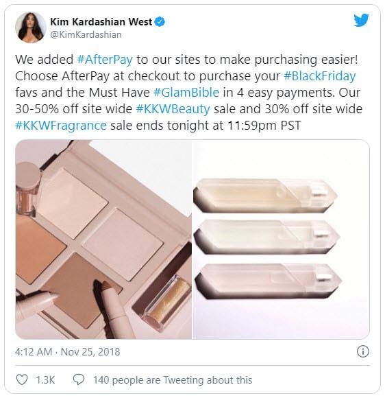 ทวีตของ Kim Kardashian สร้างกระแสให้กับ Afterpay ในตลาดอเมริกา