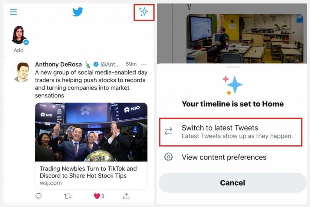 Twitter ทำให้การเข้าถึงฟีดตามลำดับเวลาง่ายกว่าแอปโซเชียลมีเดียอื่น ๆ เพียงคลิกประกายไฟที่ด้านบนขวาของแอปและเว็บไซต์ ภาพ: TWITTER