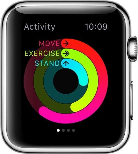 Apple Watch ที่มีแหวนแถบพลังงาน ที่แสดงจำนวนก้าว