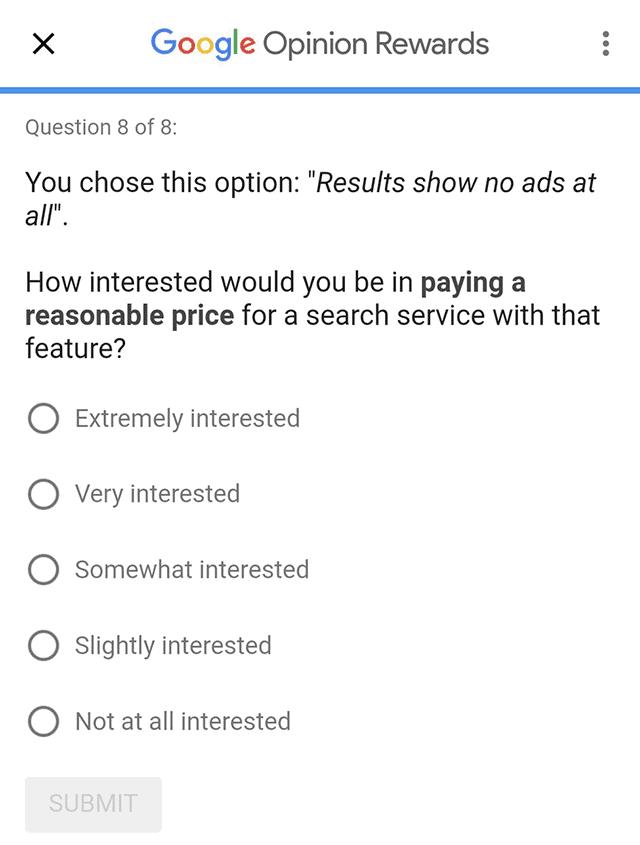 ตัวอย่าง Survey ของ Google ในเรื่องดังกล่าว